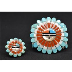 ZUNI INDIAN BRACELET AND RING  (MORRIS & SADIE LAAHTE)