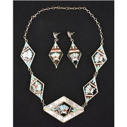 ZUNI INDIAN NECKLACE AND EARRINGS (DELBERT & CAROL SECIWA)
