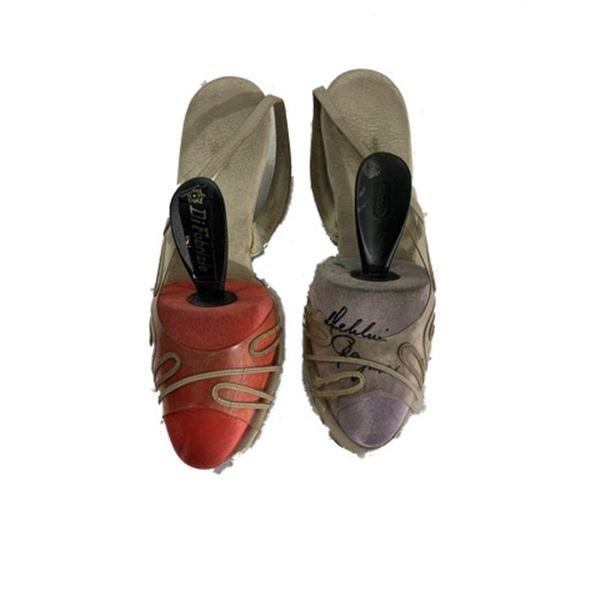 Debbie Reynolds Personal Signed Norman Kaplan Shoes
