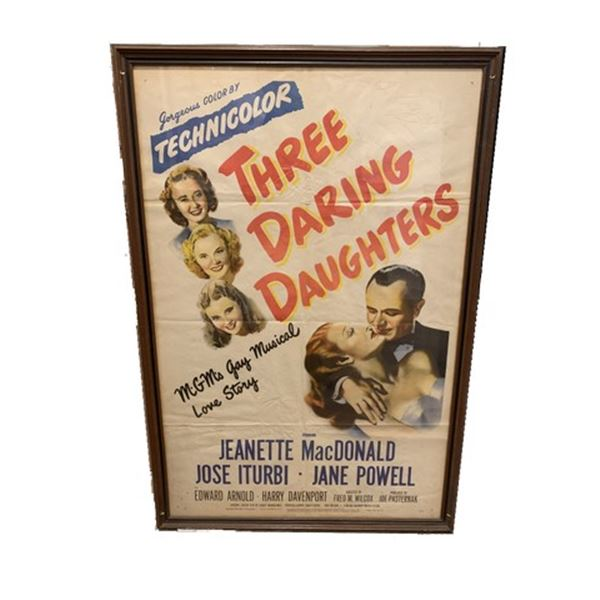 Three Daring Daughters Jane Powell Signed Movie Poster
