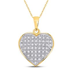 1/6 CTW Womens Round Diamond Heart Pendant 10kt Yellow Gold - REF-12N2A