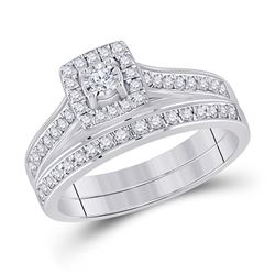 1/2 CTW Round Diamond Halo Bridal Wedding Ring Band Set 10kt White Gold - REF-46A3M