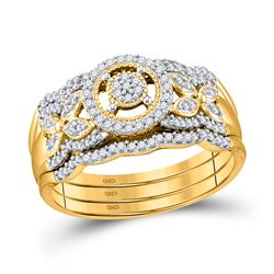 1/3 CTW Round Diamond 3-Piece Bridal Wedding Ring 10kt Yellow Gold - REF-40Y8N