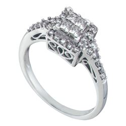 1/2 CTW Womens Princess Diamond Square Cluster Ring 14kt White Gold - REF-40Y8N