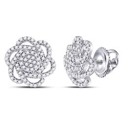 3/8 CTW Womens Round Diamond Pinwheel Cluster Earrings 10kt White Gold - REF-34X3T