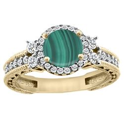 1.46 CTW Malachite & Diamond Ring 14K Yellow Gold - REF-76N9Y