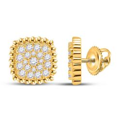1/3 CTW Womens Round Diamond Square Cluster Earrings 10kt Yellow Gold - REF-34Y3N
