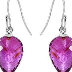 Genuine 19 ctw Amethyst Earrings 14KT White Gold - REF-28R4P