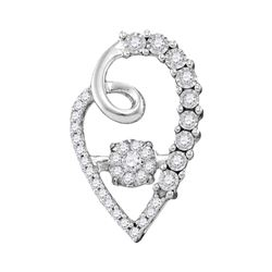 1/5 CTW Womens Round Diamond Moving Twinkle Cluster Heart Pendant 10kt White Gold - REF-28A5M