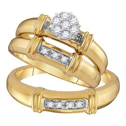 1/4 CTW His Hers Round Diamond Cluster Matching Wedding Set 10kt Yellow Gold - REF-47V6Y