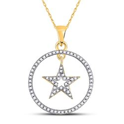 1/4 CTW Womens Round Diamond Circle Dangling Star Pendant 10kt Yellow Gold - REF-16X4T