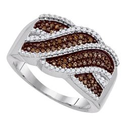 1/3 CTW Womens Round Brown Diamond Crossover Band Ring 10kt White Gold - REF-31H9R