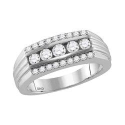 1 CTW Mens Round Diamond 5-Stone Band Ring 14kt White Gold - REF-126A2M
