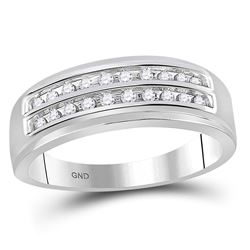 1/4 CTW Mens Round Diamond Wedding 2-Row Band Ring 10kt White Gold - REF-32X7T