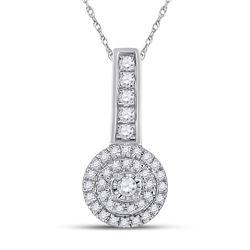 1/5 CTW Womens Round Diamond Circle Pendant 10kt White Gold - REF-16M4F