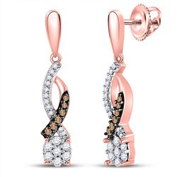 1/5 CTW Womens Round Brown Diamond Dangle Earrings 10kt Rose Gold - REF-23Y3N