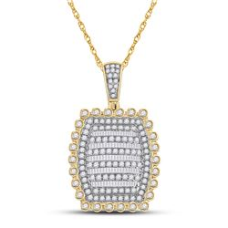 2 & 1/3 CTW Mens Round Diamond Pillow Cushion Charm Pendant 10kt Yellow Gold - REF-170R5X