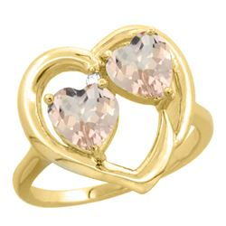 1.20 CTW Morganite Ring 10K Yellow Gold - REF-29K3W