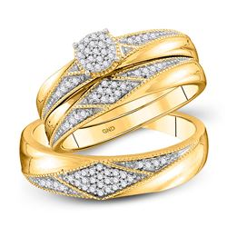 1/4 CTW His Hers Round Diamond Cluster Matching Wedding Set 10kt Yellow Gold - REF-40Y8N