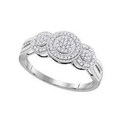 1/6 CTW Womens Round Diamond Triple Cluster Ring 10kt White Gold - REF-20Y5N