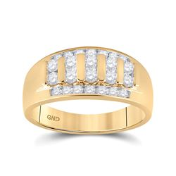 1 CTW Mens Round Diamond Wedding Channel Set 14kt Yellow Gold - REF-104W2H