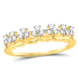 1/4 CTW Womens Round Diamond Stackable Band Ring 14kt Yellow Gold - REF-29A9M