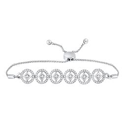 1/3 CTW Womens Round Diamond Joined Circles Bolo Bracelet 10kt White Gold - REF-54V5Y