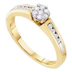 1/4 CTW Womens Round Diamond Flower Cluster Ring 10kt Yellow Gold - REF-31T9V