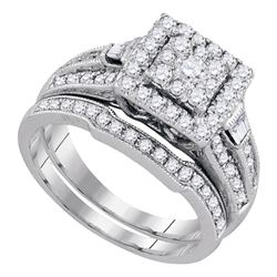 1 CTW Round Diamond Square Bridal Wedding Ring 14kt White Gold - REF-112N4A