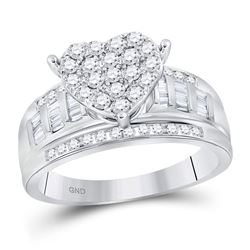 1 CTW Round Diamond Heart Cluster Bridal Wedding Engagement Ring 10kt White Gold - REF-76F9W