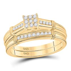 1/5 CTW Round Diamond Bridal Wedding Ring 10kt Yellow Gold - REF-39X5T