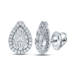 1 & 1/2 CTW Womens Round Diamond Teardrop Cluster Earrings 18kt White Gold - REF-238Y5N