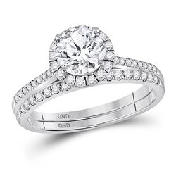 1 & 3/8 CTW Round Diamond Bridal Wedding Ring 14kt White Gold - REF-545A4M