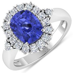 Natural 2.64 CTW Tanzanite & Diamond Ring 14K White Gold - REF-103M3T