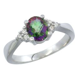 1.06 CTW Mystic Topaz & Diamond Ring 14K White Gold - REF-36Y9V