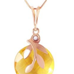 Genuine 5.32 ctw Citrine & Diamond Necklace 14KT Rose Gold - REF-31N2R