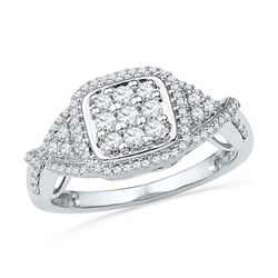 1/2 CTW Womens Round Diamond Square Cluster Ring 10kt White Gold - REF-40R8X