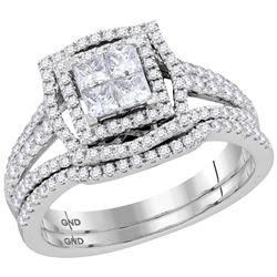 1 CTW Princess Diamond Bridal Wedding Ring 14kt White Gold - REF-92H3R