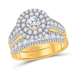 2 CTW Round Diamond Bridal Wedding Ring 14kt Yellow Gold - REF-293V2Y