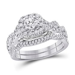 1 CTW Round Diamond Bridal Wedding Ring 14kt White Gold - REF-146X6T