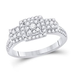 1/2 CTW Round Diamond Square Bridal Wedding Engagement Ring 10kt White Gold - REF-52Y4N