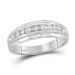 1/4 CTW Mens Round Diamond Wedding Band Ring 14kt White Gold - REF-40F3W