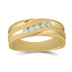 1/4 CTW Mens Round Diamond Diagonal Wedding Band Ring 14kt Yellow Gold - REF-85W4H
