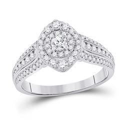 1 CTW Round Diamond Halo Bridal Wedding Engagement Ring 14kt White Gold - REF-129M5F