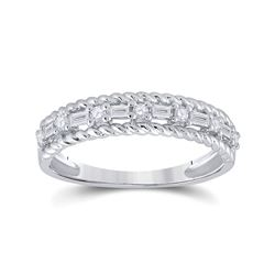 1/3 CTW Womens Baguette Diamond Anniversary Band Ring 14kt White Gold - REF-35W4H