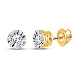 1/10 CTW Womens Round Diamond Solitaire Illusion-set Stud Earrings 10kt Yellow Gold - REF-13M5F