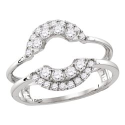 1/2 CTW Womens Round Diamond Solitaire Enhancer Wedding Band Ring 14kt White Gold - REF-54T5V