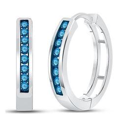 1/2 CTW Womens Round Blue Color Enhanced Diamond Hoop Earrings 14kt White Gold - REF-38Y2N