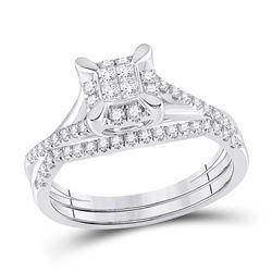 1/2 CTW Princess Diamond Bridal Wedding Ring Band Set 10kt White Gold - REF-51A2M
