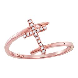 1/12 CTW Womens Round Diamond Bypass Cross Ring 10kt Rose Gold - REF-14Y2N